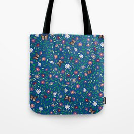 Blooms and Butterflies on Lapis Blue Tote Bag