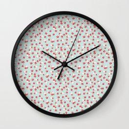 English Rose Pattern on Blue Wall Clock