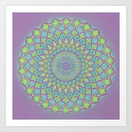 Purple Spirograph Mandala 0118 Art Print