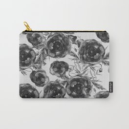 Abstract Poppy Pattern Black And White Carry-All Pouch