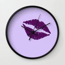 Violet Kiss on Light violet Background Wall Clock