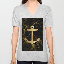 minimalist coastal chic black marble gold nautical anchor Unisex V-Neck