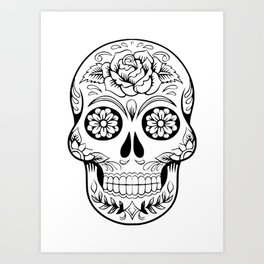 Skull drawing with black ink in white background and flowers and leaves are drawn in face Art Print