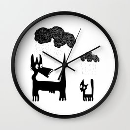 It's Raining Cats and Dogs Wall Clock
