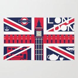 Vintage Union Jack UK Flag with London Decoration Rug