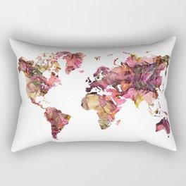 world map flowers pattern Rectangular Pillow