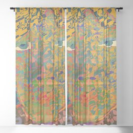 Contemporary David in the Jungle Zone Sheer Curtain