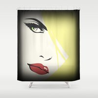 woman Shower Curtains featuring Woman by Cs025