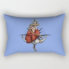 Love and Sea (anchor with heart and compass) Rectangular Pillow