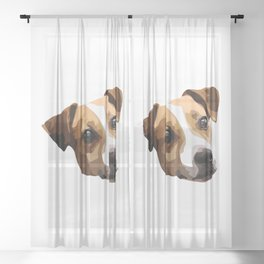 Jack Russell Terrier drawing Sheer Curtain