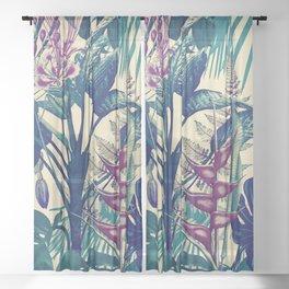 Vintage Tropical Flora (blue) Sheer Curtain
