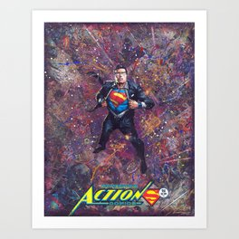Super Man Geek Art Comic Collage Superhero Comic Art Art Print