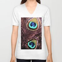 peacock feather V-neck T-shirts featuring Peacock Feather by Art by Jolene