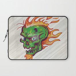 green skull sketch design on white  background with flame Laptop Sleeve