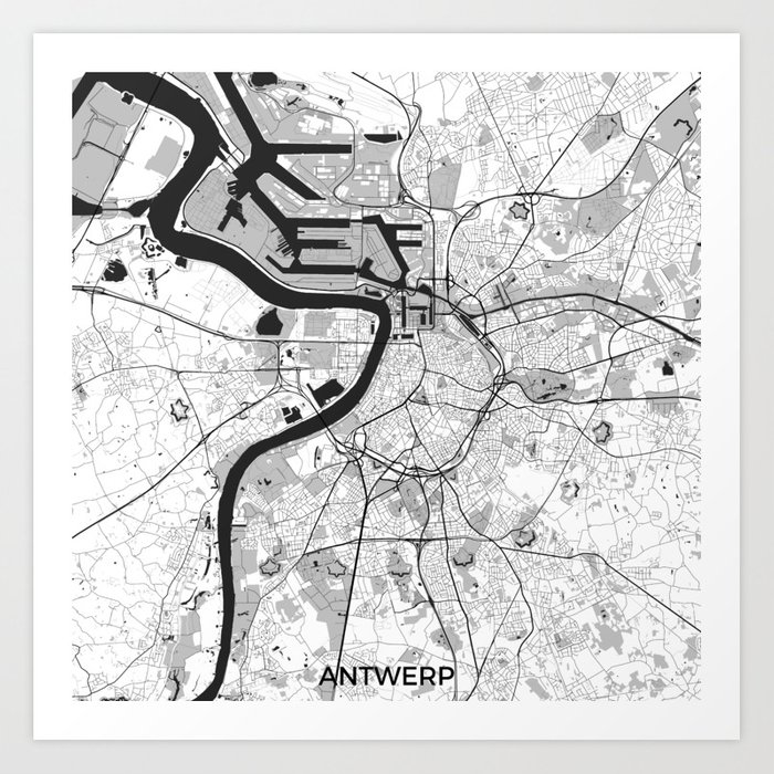Antwerp Map Gray Art Print