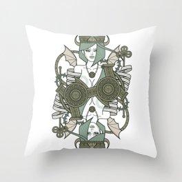 SINS Mentis - Envy Queen of Clubs Throw Pillow