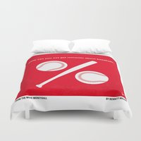 oakland Duvet Covers featuring No191 My Moneyball minimal movie poster by Chungkong