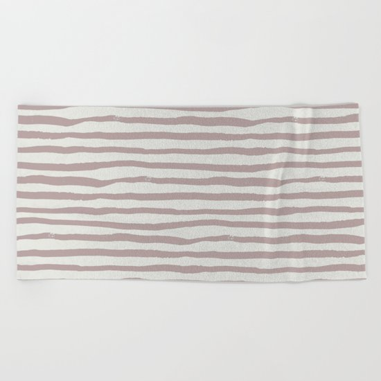 Simply Shibori Stripes Clay Pink on Lunar Gray Beach Towel