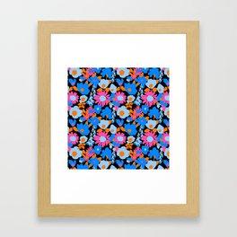 Mod Garden in Black + Orange + Blue Framed Art Print