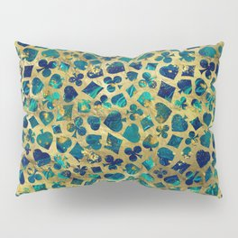 Gold and Marble Suits Pattern Digital Art Pillow Sham