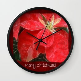Mottled Red Poinsettia 1 Ephemeral Merry Christmas P5F5 Wall Clock