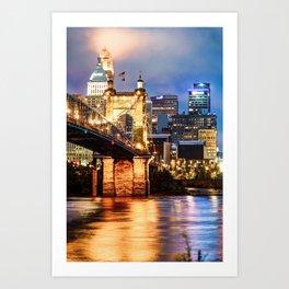 Cincinnati Skyline and John Roebling Bridge - Vertical Colors Art Print