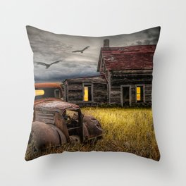 The Death of the Small American Farm with Abandoned Truck and Farm House Throw Pillow