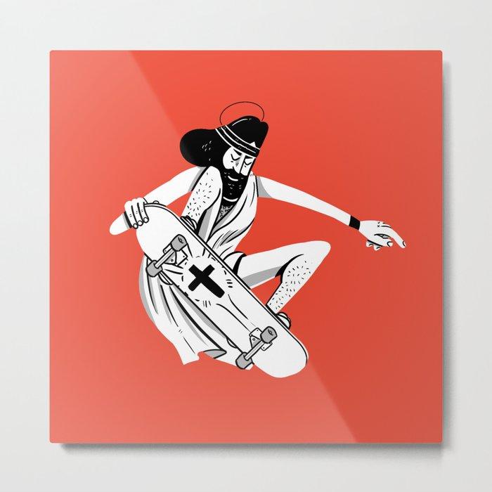 Jesus Skates Metal Print