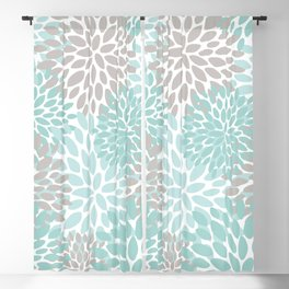 Floral Pattern, Teal, Aqua, Turquoise,Gray Blackout Curtain