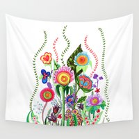 mexico Wall Tapestries featuring FLOWERS IN MEXICO by Heaven7