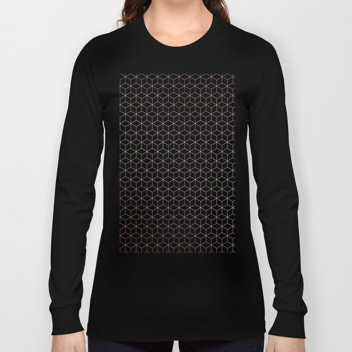 Simply Cubes in Rose Gold Sunset Long Sleeve T-shirt