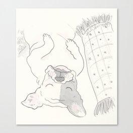 Topsy Turvy Snoozing Frenchie French Bulldog Black & White Canvas Print