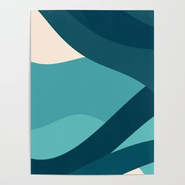 swell ocean and teal Poster