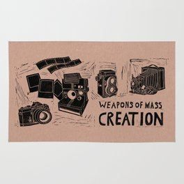 Weapons Of Mass Creation - Photography (blk on brown) Rug