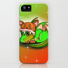 Kawaii baby dragon in a cute cat hat iPhone Case