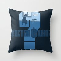 dr who Throw Pillows featuring Dr Who? by Anarchtee's