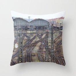 Prague Train Station Throw Pillow
