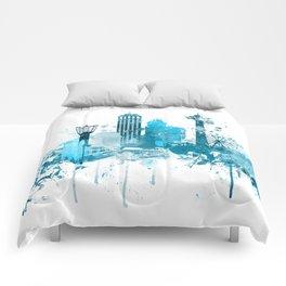 Niagara Falls Monochrome Blue Skyline Comforters