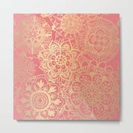 Coral Pink and Gold Mandala Pattern Metal Print