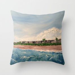 Cocoa Beach  Oil on canvas Throw Pillow