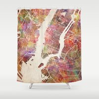 new york map Shower Curtains featuring New York Map Watercolor by Map Map Maps