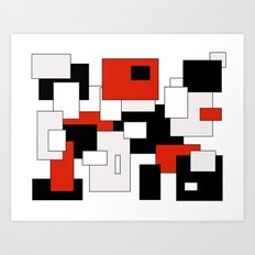 Squares - red, gray, black and white Art Print