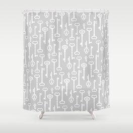 Light Grey Victorian Keys Shower Curtain