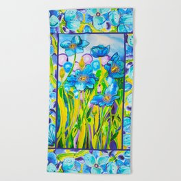 Blue Poppies 2 with Border Beach Towel