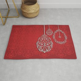 Silver lace hanging eggs on vibrant red background Rug