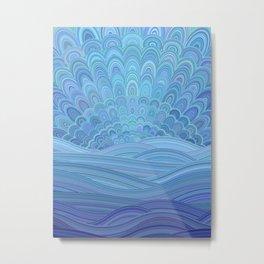Blue Mandala Sunset at the Ocean Metal Print