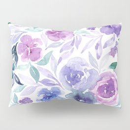 Watercolor Wildflower Meadow Floral Print Pillow Sham
