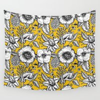 yellow pattern Wall Tapestries featuring Yellow by AITCH