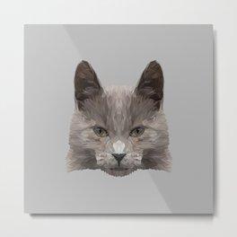 Gray cat low poly. Metal Print