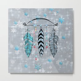 Winter Feathers and Bow Metal Print